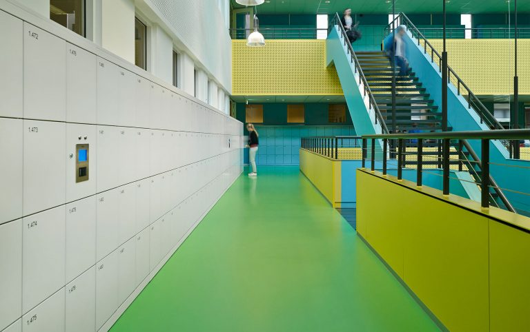 Neon Green and Blue Stairs and Corridors