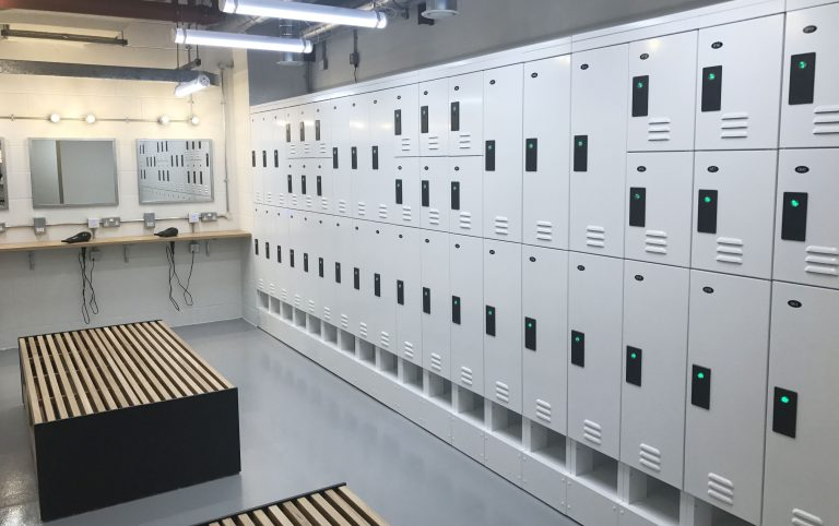 Wash Room Small Black and White Lockers