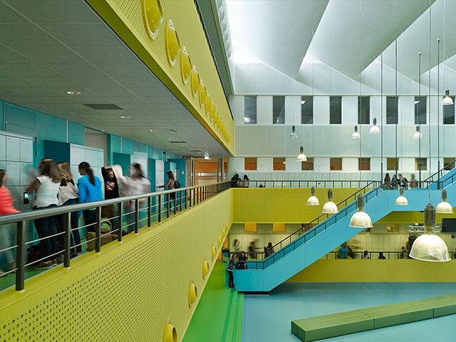 Bright Blue Locker Area in School