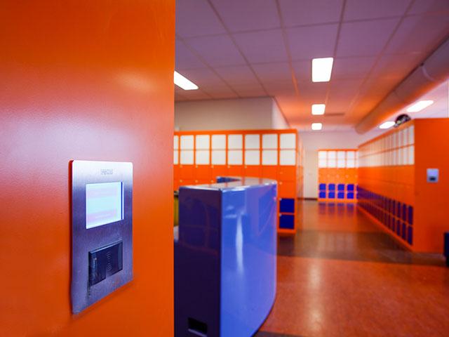 Gleaming Orange and Purple School Lockers