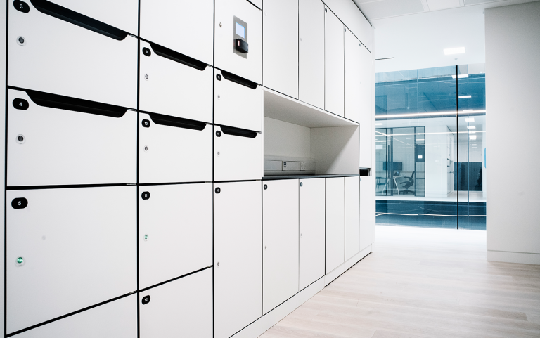 Investment Bank Side View of Postal Lockers